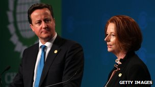 David Cameron and Australian PM Julia Gillard