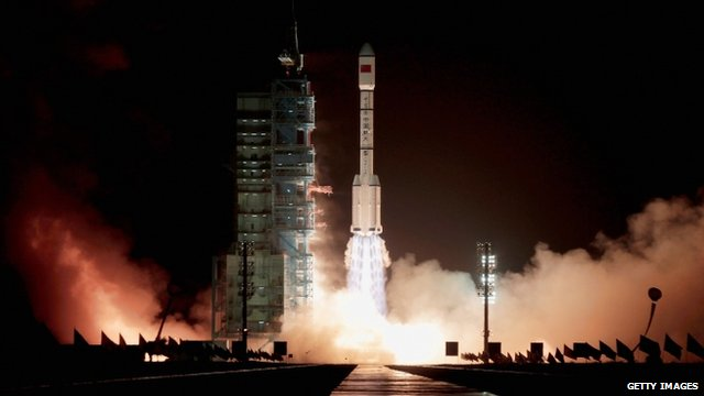 Long March 2F rocket launches from the Jiuquan Satellite Launch Centre in China