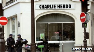 Police outside Charlie Hebdo offices (Feb 2006)
