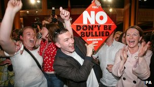 Members of anti-Lisbon Treaty Group Coir (Justice) celebrate after Ireland voters rejected the Lisbon Treaty referendum in Dublin in June 2008
