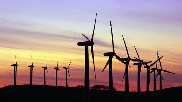 wind farm at twilight