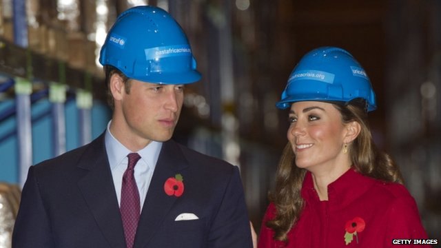 Duke and Duchess of Cambridge during a visit to the UNICEF Emergency Supply Centre