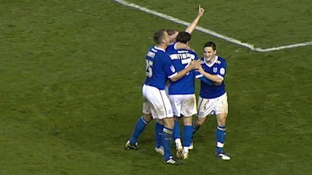 Cardiff celebrate Peter Whittingham's goal at Derby