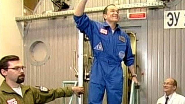Mars mission crew member emerging