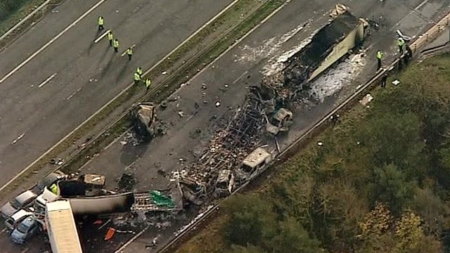 Aerial footage of the crash