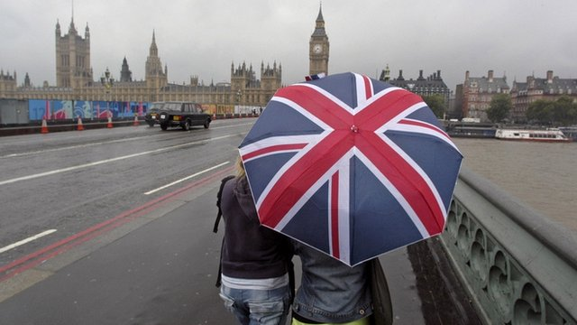 People under Union flag umbrella on Westminster Bridge