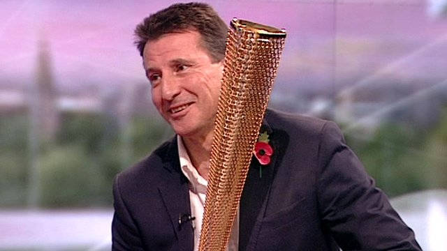 Lord Coe with 2012 Olympic torch