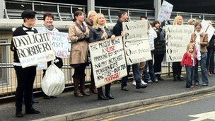 Hospital staff protested over the increase in parking charges