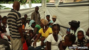 Patients with cholera are treated in a hospital in Haiti on 6 November, 2010