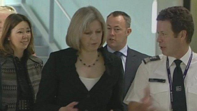 Home Secretary Theresa May at UK Customs