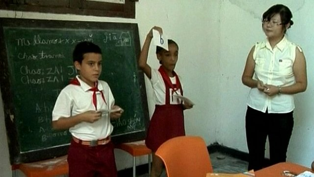 Primary school Mandarin Chinese lesson in Cuba