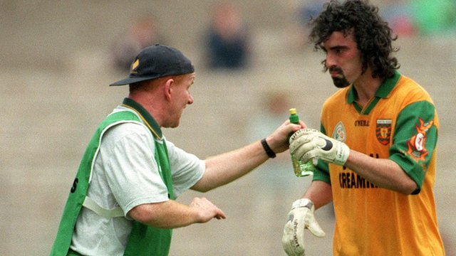 Declan Bonner pictured with Jim McGuinness in 1998