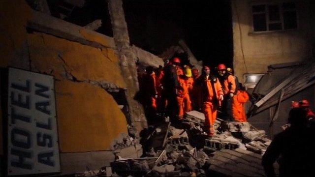 Collapsed hotel near Van in eastern Turkey, following 5.7 earthquake.