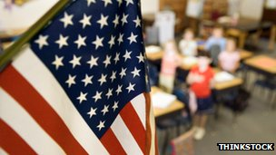 American flag in a classroom