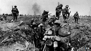 British troops at the Battle of the Somme, 1916