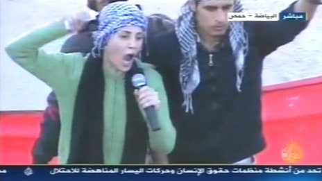 Syrian actress Fadwa Sulayman in Homs, 8 November 2011