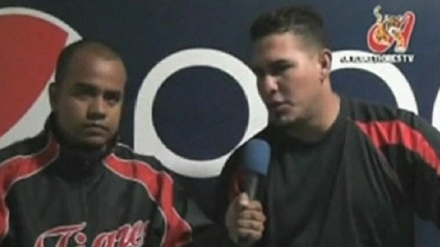 Wilson Ramos, right, at a press conference.