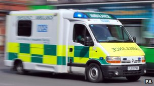 An ambulance responding to an emergency