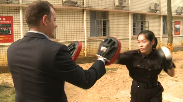 Martin Patience gives trainee bodyguard a boxing session