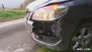 The spectator's hire car was damaged Image courtesy of wrc.com