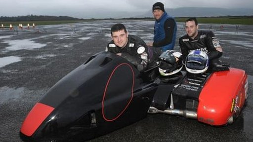Michael Dunlop has his first test in a sidecar at the Jurby circuit