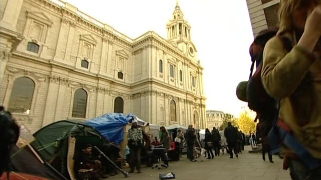 Protesters camped outside St Paul's
