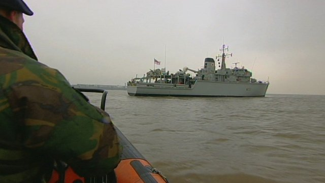 The Royal Navy minehunter HMS Brocklesby