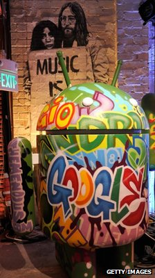 Android signage at the Goole Music announcement