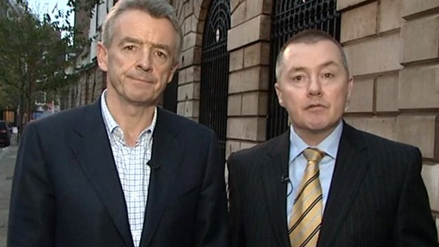 Michael O'Leary of Ryan Air (left) and Willie Walsh of the International Airlines Group