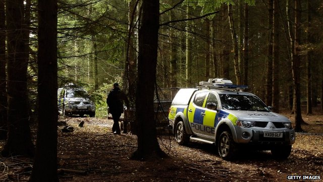 Police search woods at Redhill Farm in Redmarley