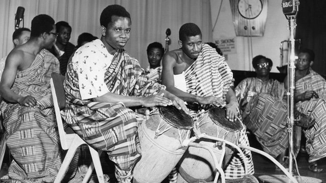 Highlife musicians Kobina De-Meer (left) and Issac Ashan from Ghana performing at the BBC in 1958
