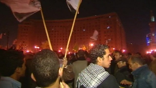 Protesters in Tahrir Square on Friday night