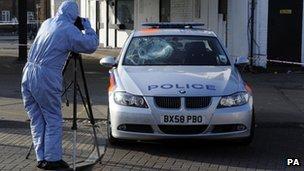 Police officers stabbing scene