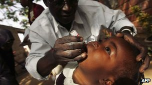 A child being given a polio vaccination in Kano in northern Nigeria in 2005
