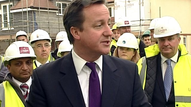 David Cameron and housing workers in Guildford