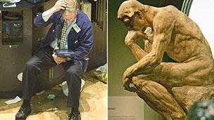 Stock market and Rodin's Thinker