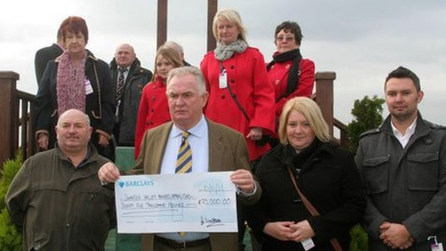 Ffos Las chairman Dai Walters and relatives of the men who died in the Gleision mining disaster