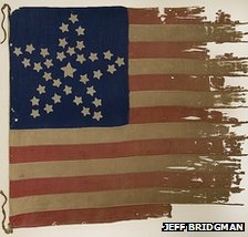 US flag with stars in constellation pattern, photo courtesy of Jeff Bridgman Antiques