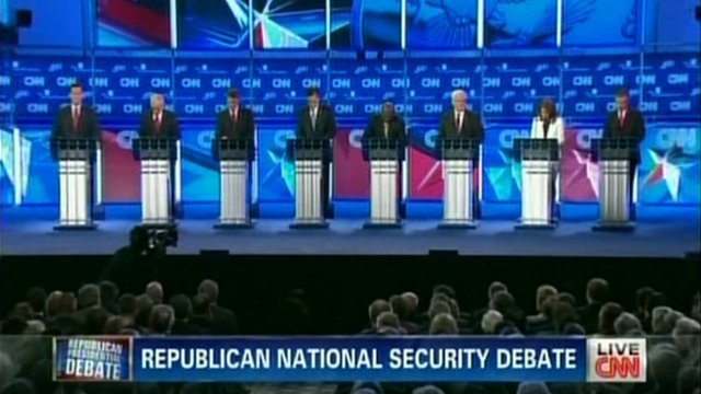 The eight Republican US presidential hopefuls at the CNN debate