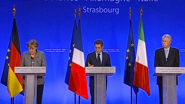 German Chancellor Merkel, French President Sarkozy and Italian PM Monti