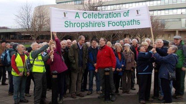 Ramblers protesting in Shrewsbury