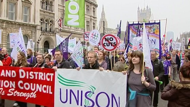 Union members campaigning against cuts