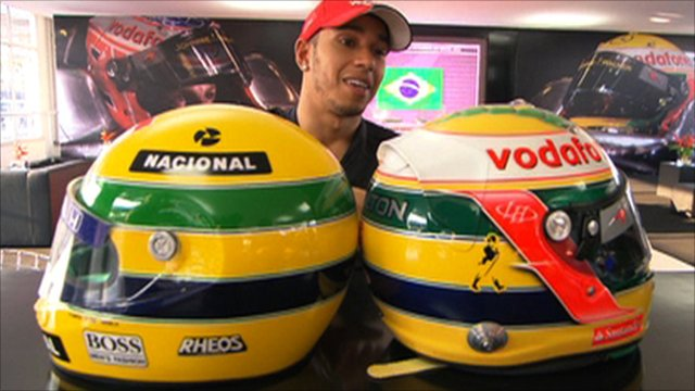 Hamilton's special Senna tribute helmet