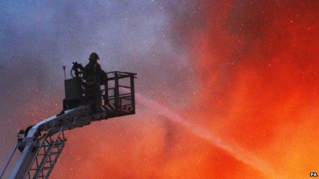 Fire crews tackle a blaze on Morrison Street in Glasgow