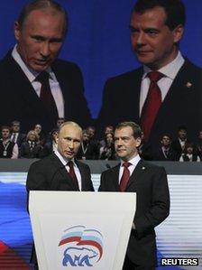 Russian Prime Minister Vladimir Putin (L)with President Dmitry Medvedev (27 Nov 2011)
