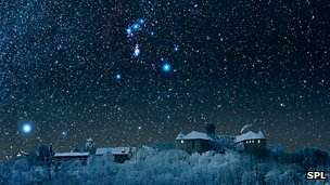 The night sky with Sirius, the dog star, on the left and Orion