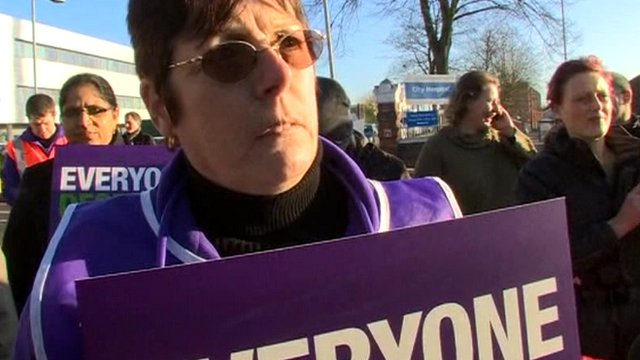 Christine Rickards, on strike at Birmingham City Hospital