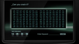 Screen shot of the code breaking challenge