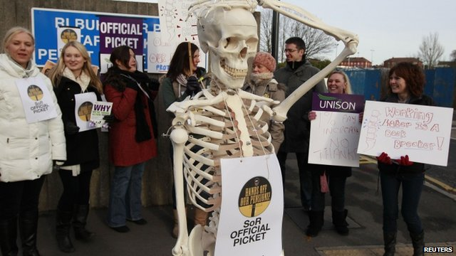A skeleton and strikers outside Royal Liverpool University Hospital in Liverpool
