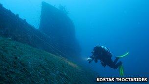 Kostas Thoctarides swimming next to the wreck of HMS Perseus